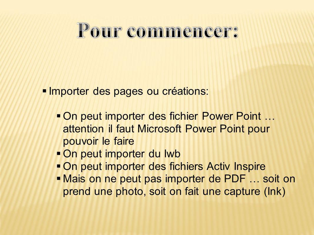 Importer des pages ou créations: