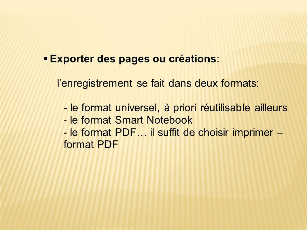 Exporter des pages ou créations: