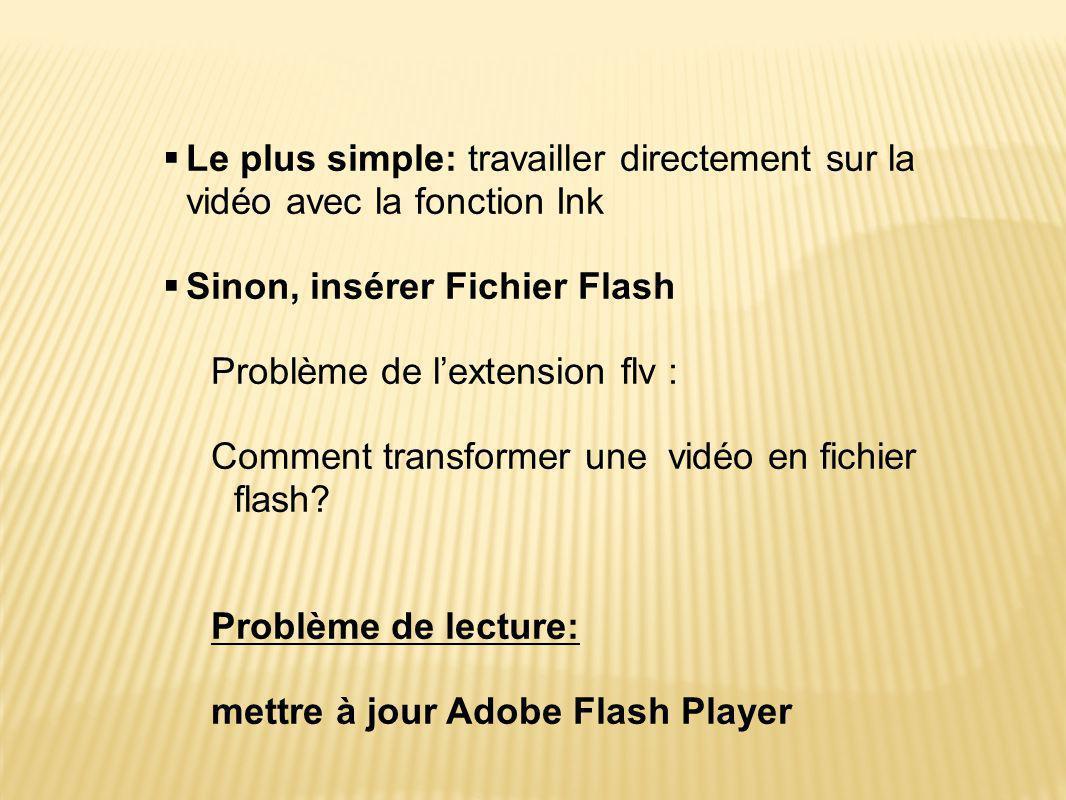 Sinon, insérer Fichier Flash Problème de l'extension flv :