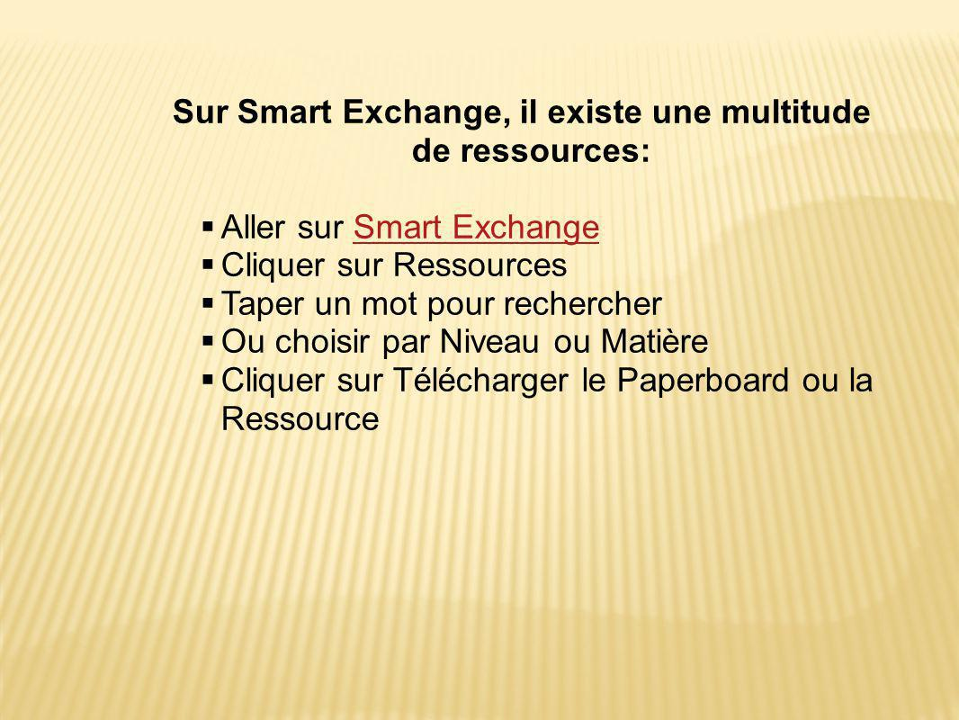 Sur Smart Exchange, il existe une multitude de ressources: