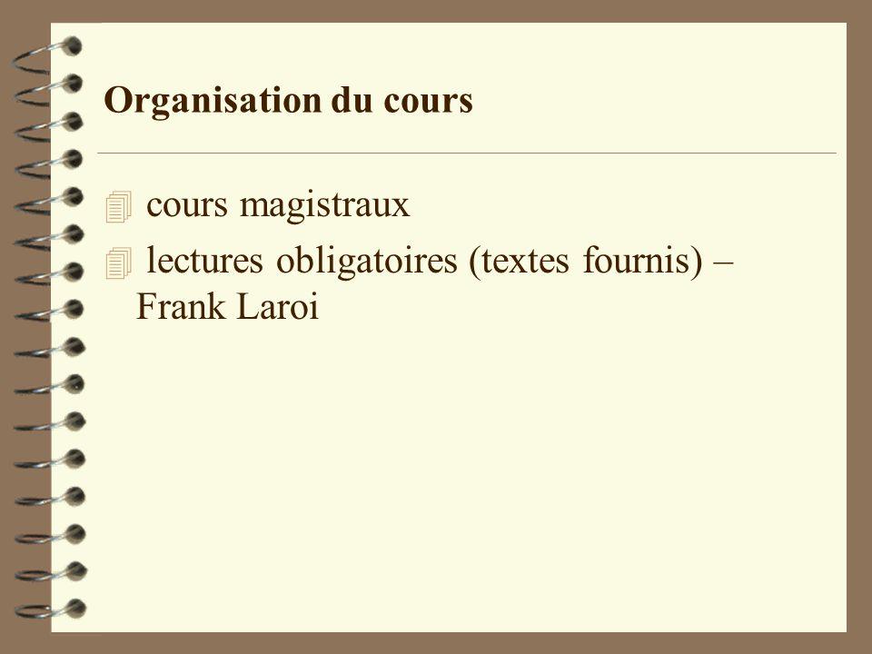 Organisation du cours cours magistraux lectures obligatoires (textes fournis) – Frank Laroi
