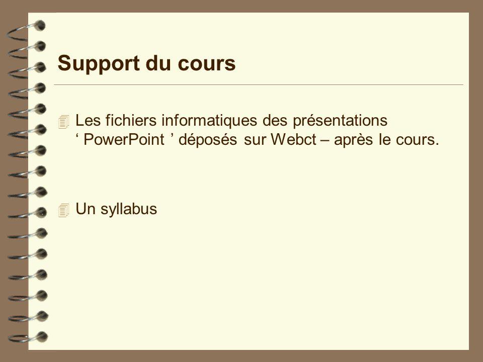 Support du cours Les fichiers informatiques des présentations ' PowerPoint ' déposés sur Webct – après le cours.