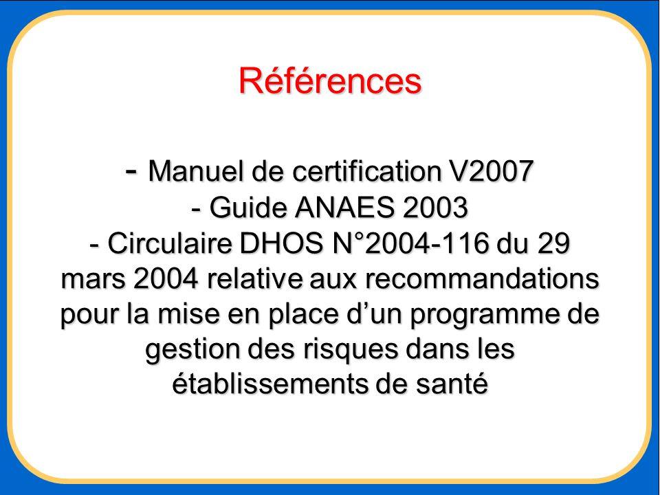Références - Manuel de certification V2007 - Guide ANAES 2003 - Circulaire DHOS N°2004-116 du 29 mars 2004 relative aux recommandations pour la mise en place d'un programme de gestion des risques dans les établissements de santé