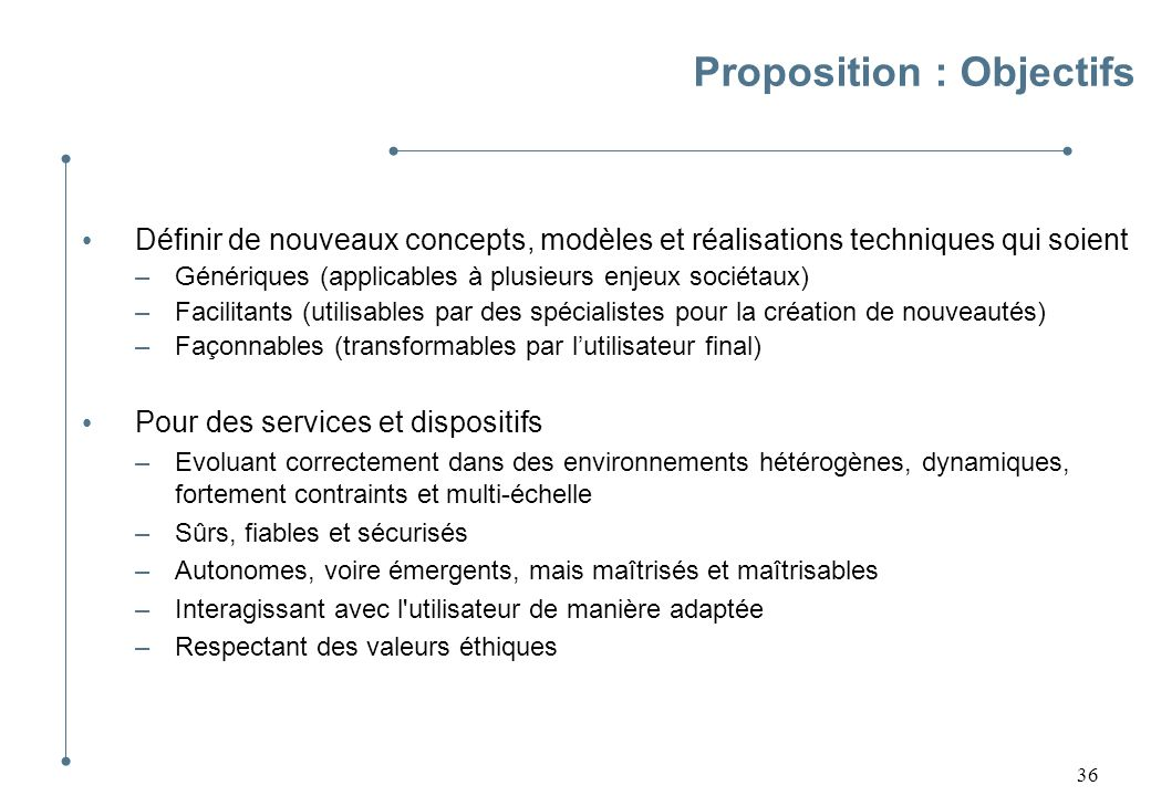 Proposition : Objectifs
