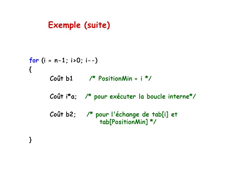 Exemple (suite) for (i = n-1; i>0; i--) {