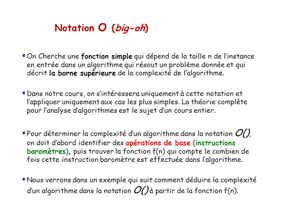 Notation O (big-oh)