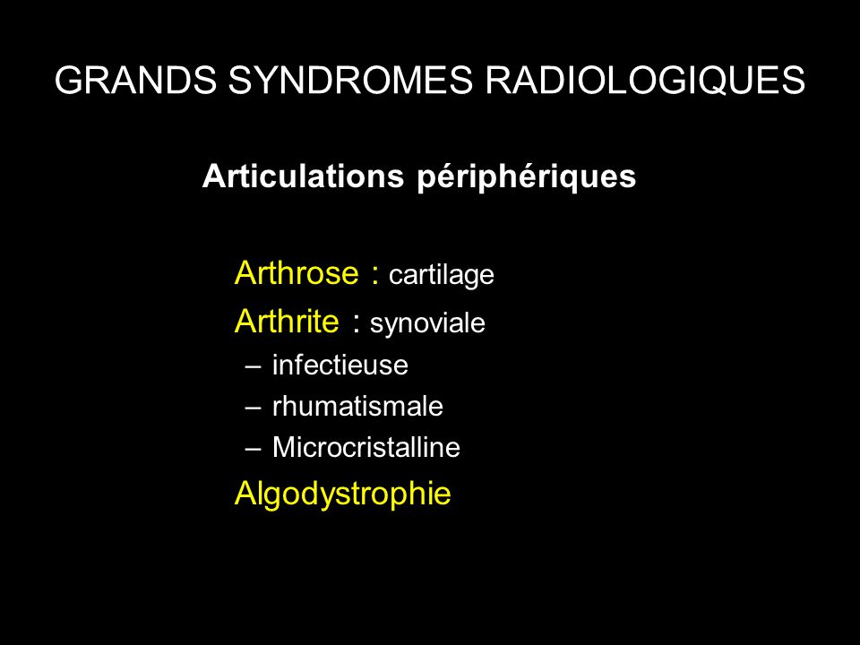 GRANDS SYNDROMES RADIOLOGIQUES