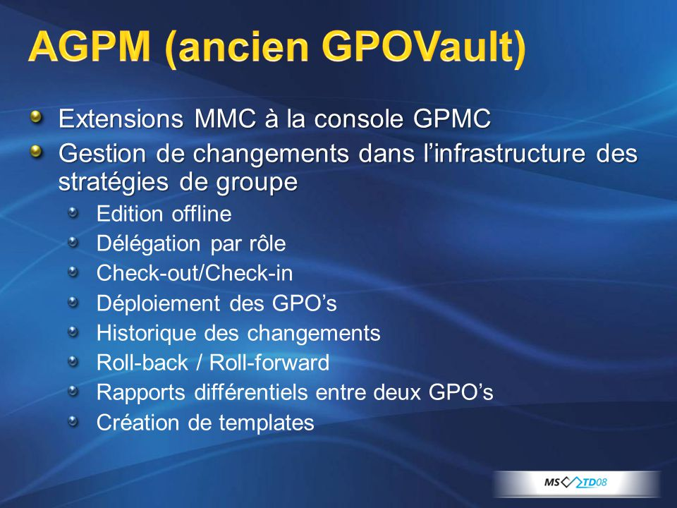 AGPM (ancien GPOVault)