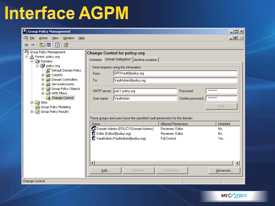 Interface AGPM