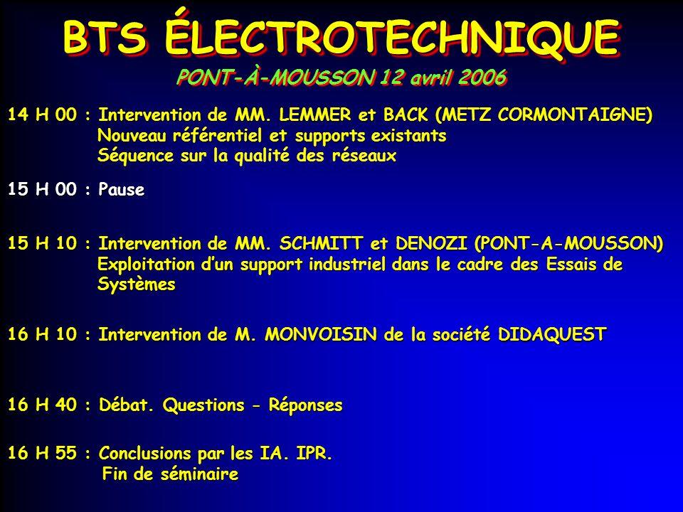 BTS ÉLECTROTECHNIQUE PONT-À-MOUSSON 12 avril 2006