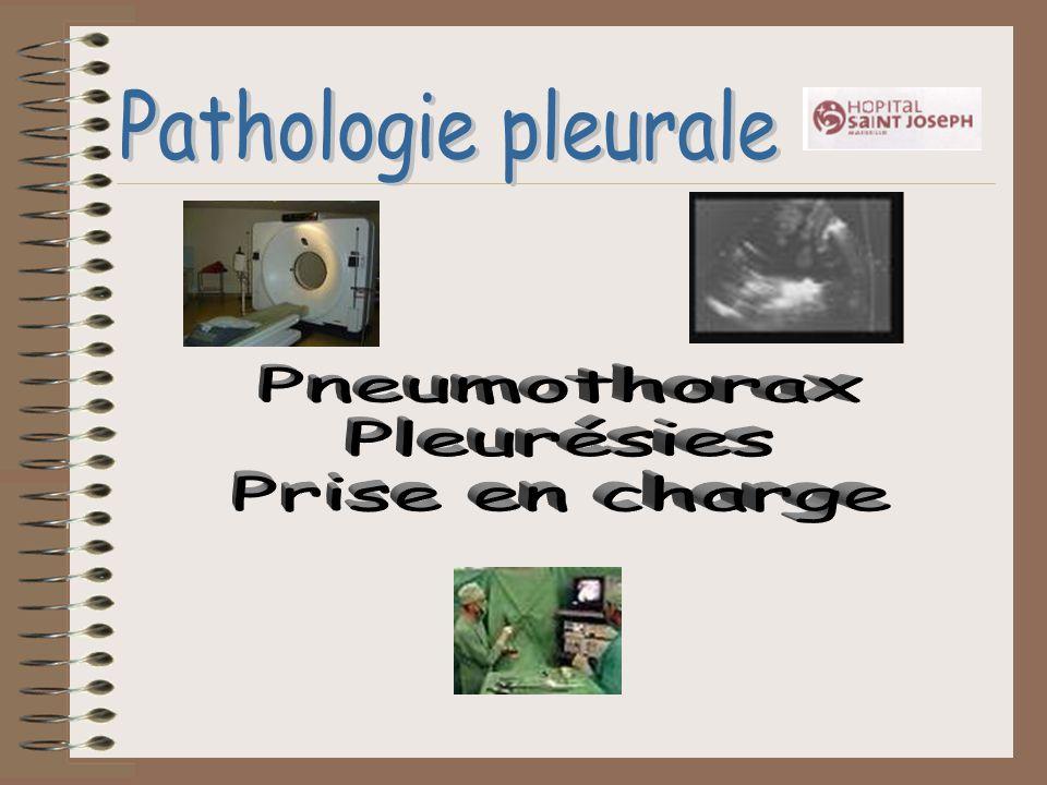 Pathologie pleurale Pneumothorax Pleurésies Prise en charge
