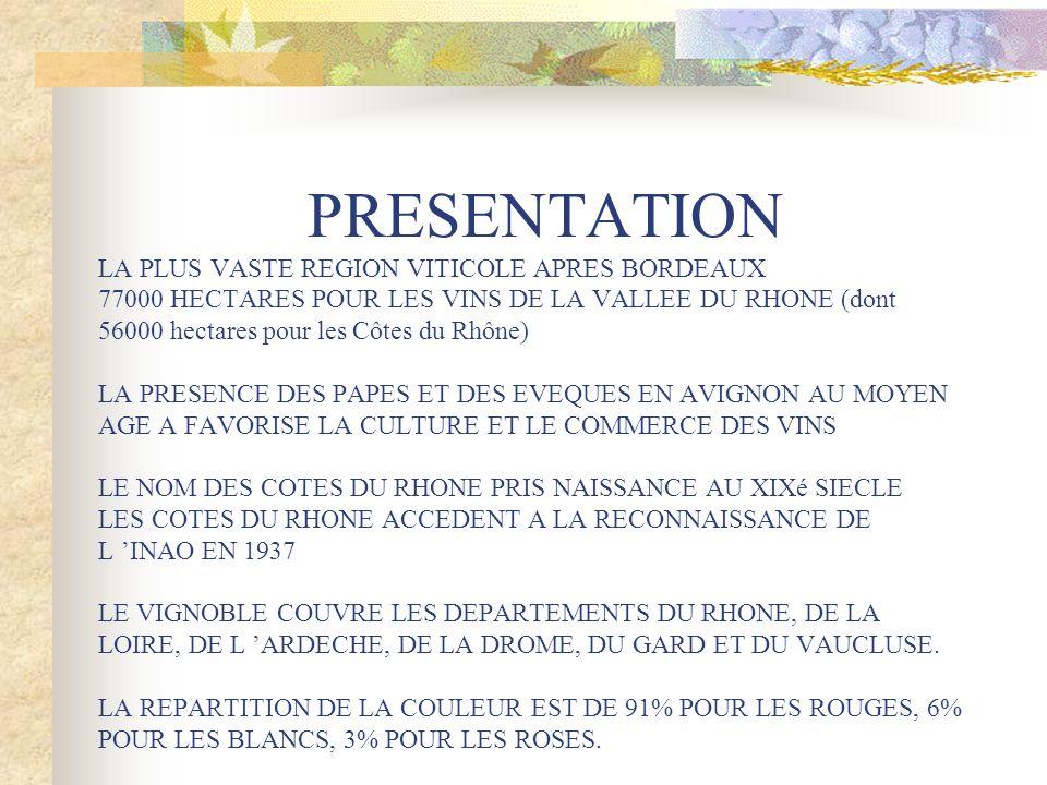PRESENTATION LA PLUS VASTE REGION VITICOLE APRES BORDEAUX 77000 HECTARES POUR LES VINS DE LA VALLEE DU RHONE (dont 56000 hectares pour les Côtes du Rhône) LA PRESENCE DES PAPES ET DES EVEQUES EN AVIGNON AU MOYEN AGE A FAVORISE LA CULTURE ET LE COMMERCE DES VINS LE NOM DES COTES DU RHONE PRIS NAISSANCE AU XIXé SIECLE LES COTES DU RHONE ACCEDENT A LA RECONNAISSANCE DE L 'INAO EN 1937 LE VIGNOBLE COUVRE LES DEPARTEMENTS DU RHONE, DE LA LOIRE, DE L 'ARDECHE, DE LA DROME, DU GARD ET DU VAUCLUSE.