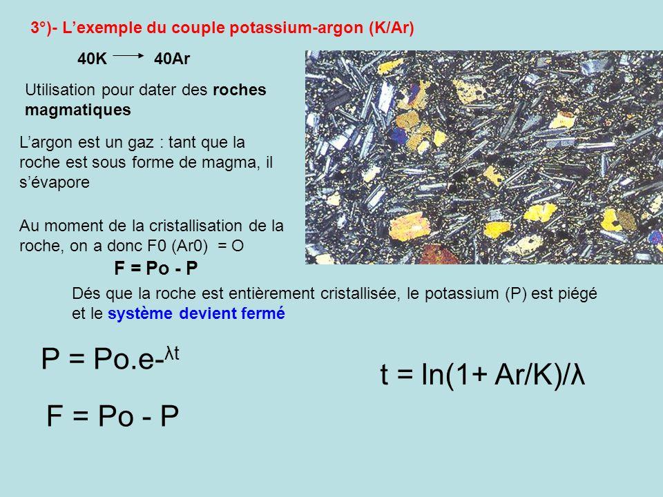 P = Po.e-λt t = ln(1+ Ar/K)/λ F = Po - P F = Po - P