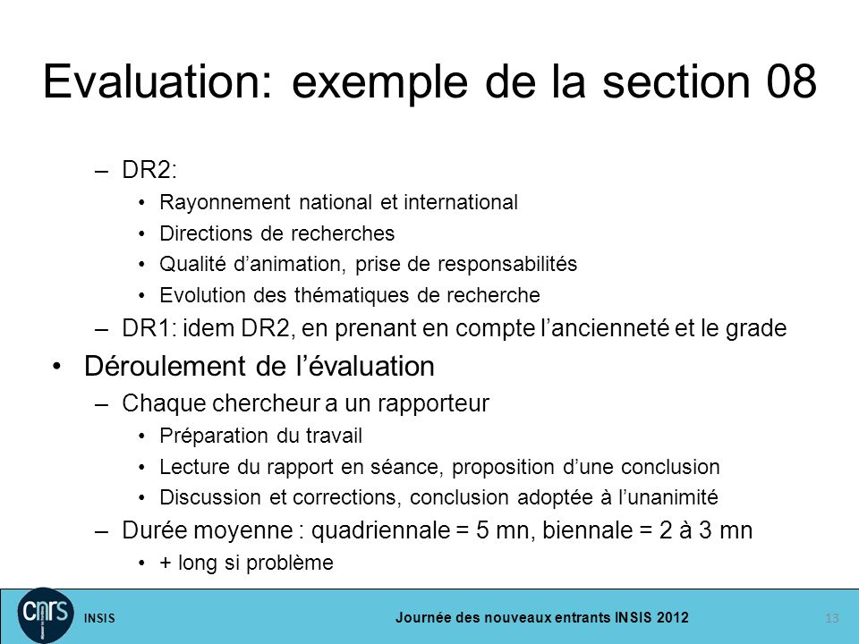 Evaluation: exemple de la section 08