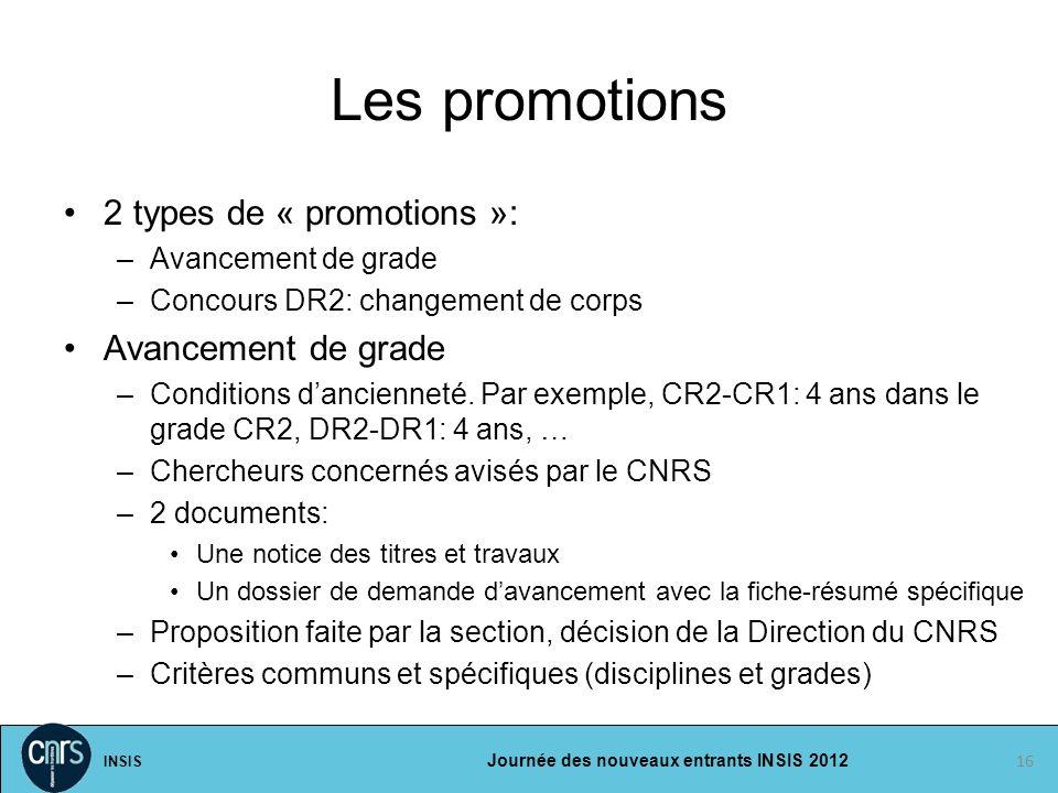 Les promotions 2 types de « promotions »: Avancement de grade