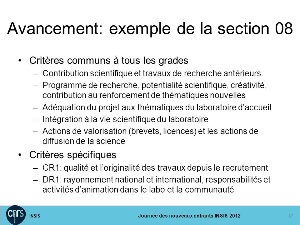 Avancement: exemple de la section 08