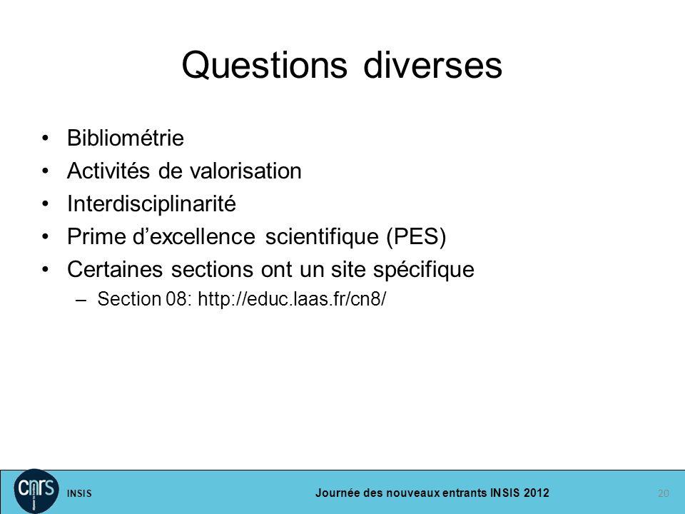 Questions diverses Bibliométrie Activités de valorisation