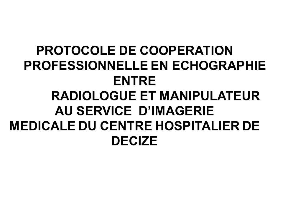 PROTOCOLE DE COOPERATION PROFESSIONNELLE EN ECHOGRAPHIE ENTRE RADIOLOGUE ET MANIPULATEUR AU SERVICE D'IMAGERIE MEDICALE DU CENTRE HOSPITALIER DE DECIZE