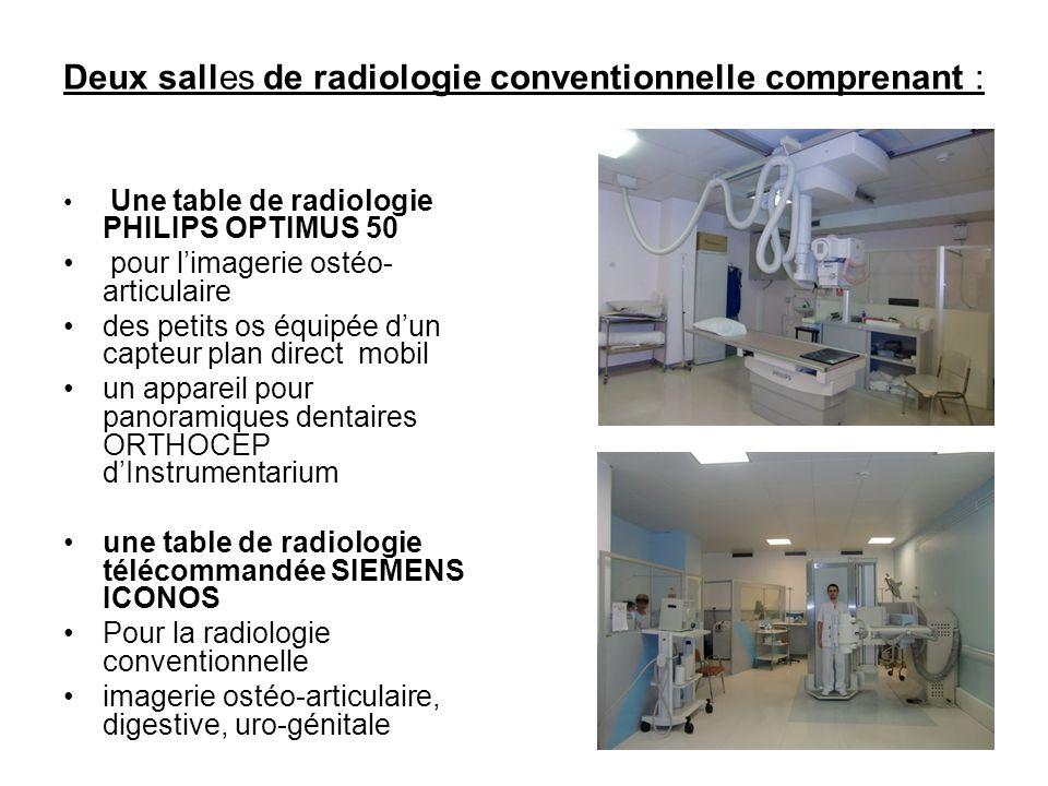 Deux salles de radiologie conventionnelle comprenant :