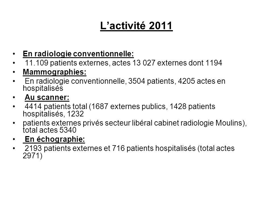 L'activité 2011 En radiologie conventionnelle: