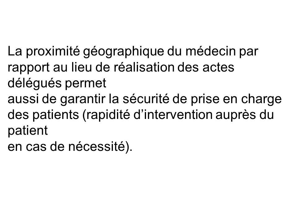 La proximité géographique du médecin par rapport au lieu de réalisation des actes délégués permet