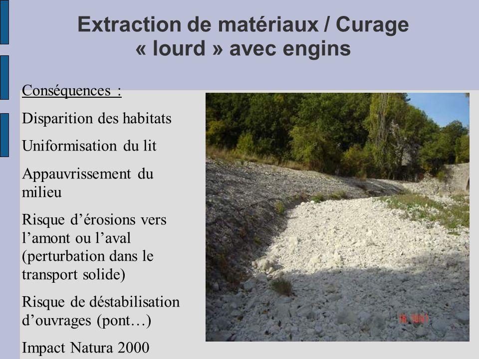 Extraction de matériaux / Curage « lourd » avec engins