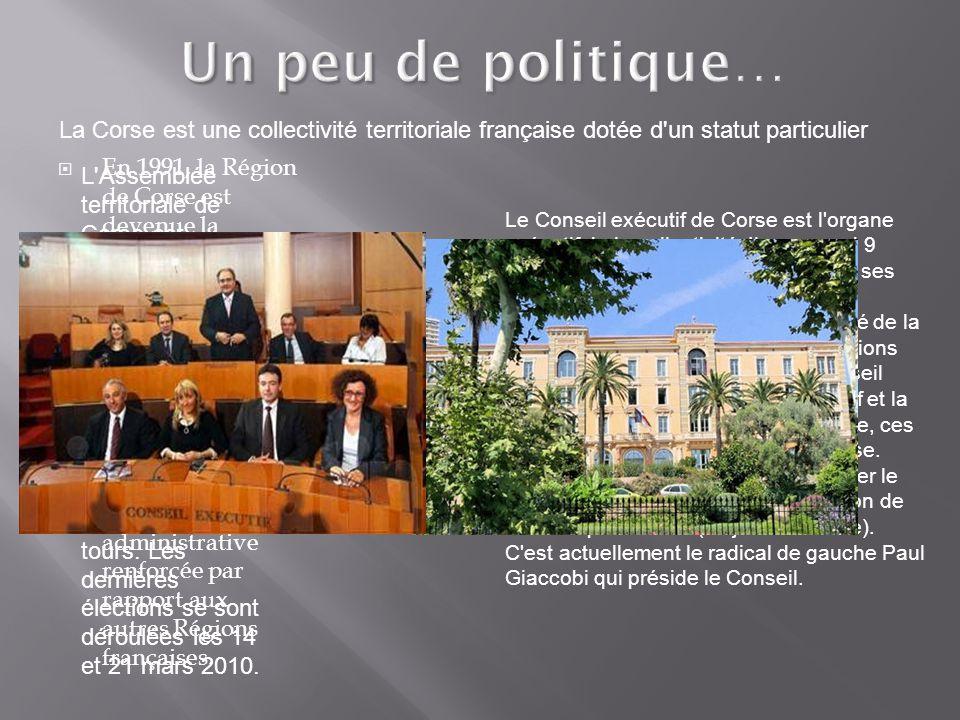 Un peu de politique… La Corse est une collectivité territoriale française dotée d un statut particulier.