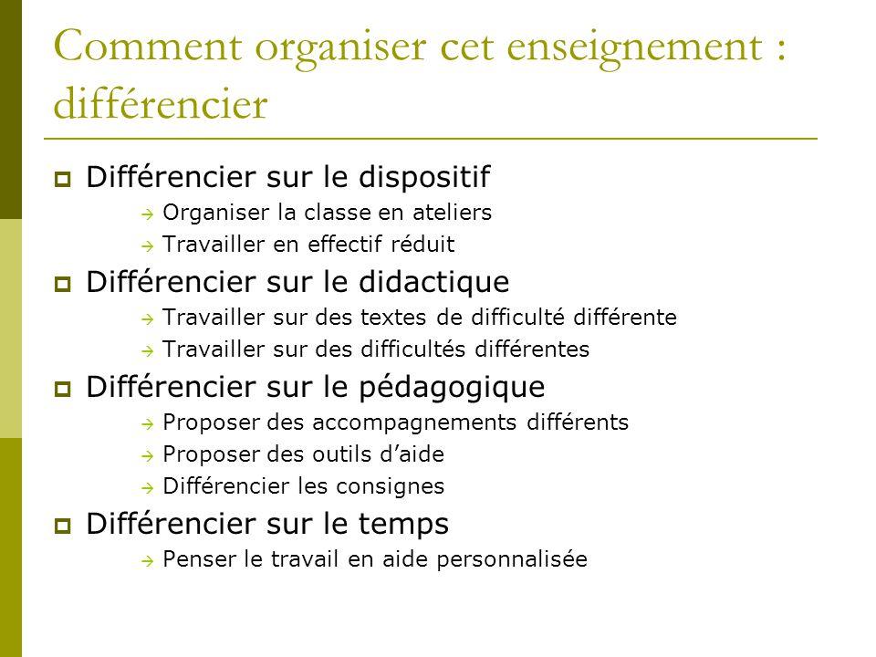 Comment organiser cet enseignement : différencier