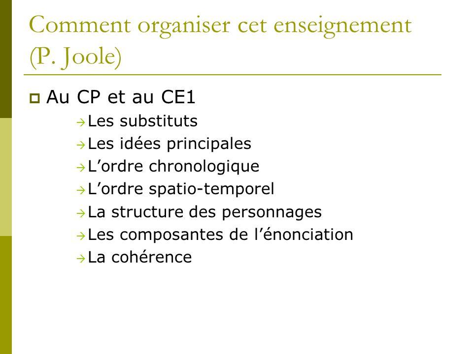 Comment organiser cet enseignement (P. Joole)