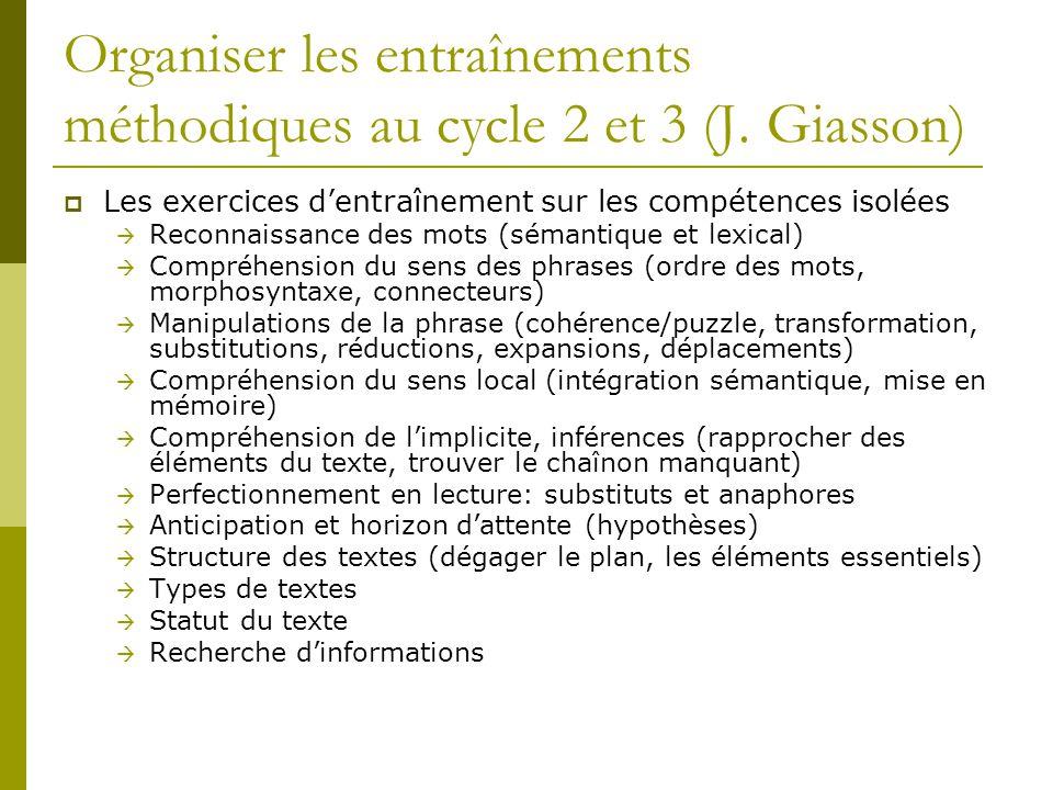 Organiser les entraînements méthodiques au cycle 2 et 3 (J. Giasson)