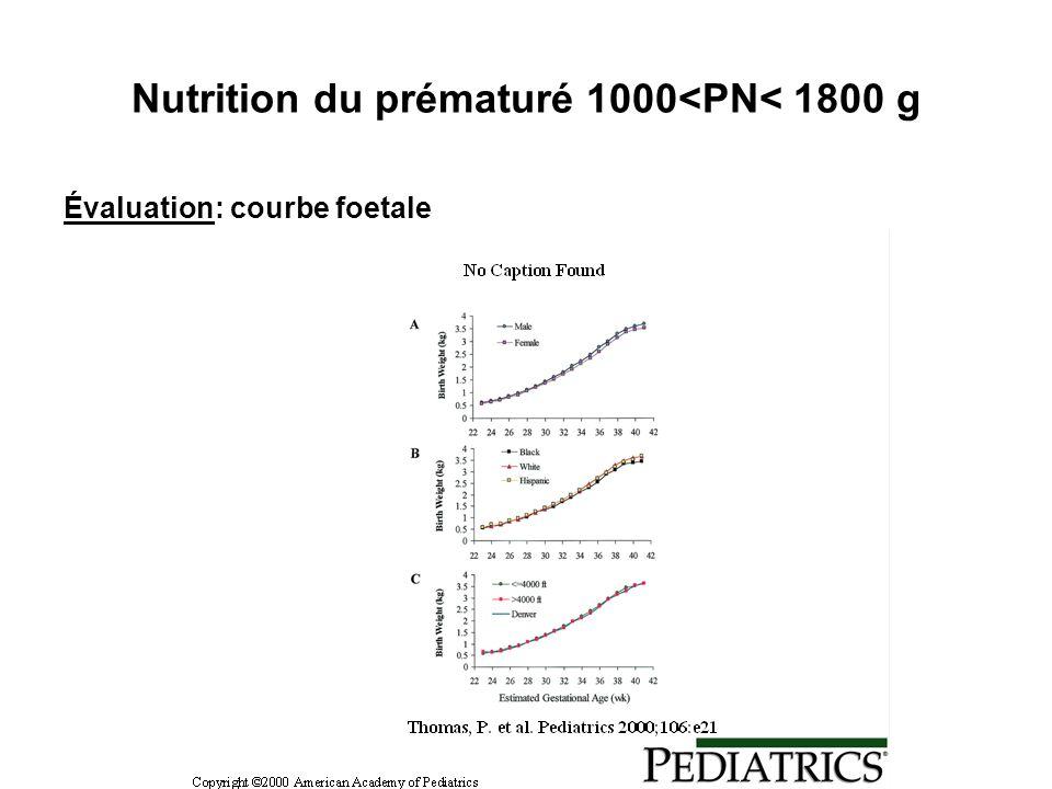Nutrition du prématuré 1000<PN< 1800 g