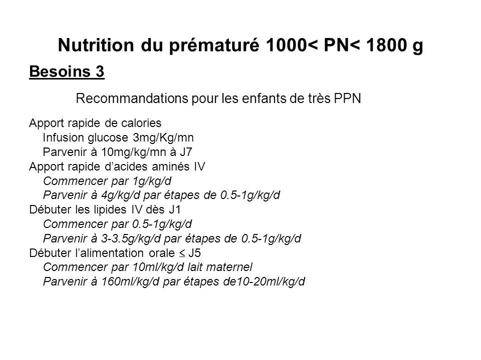 Nutrition du prématuré 1000< PN< 1800 g