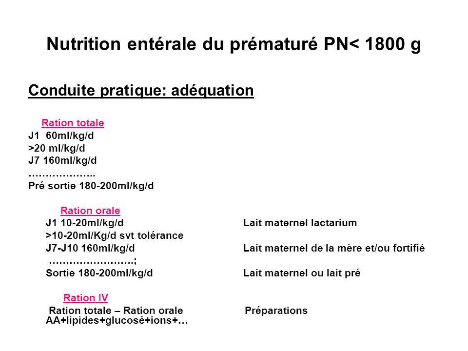 Nutrition entérale du prématuré PN< 1800 g