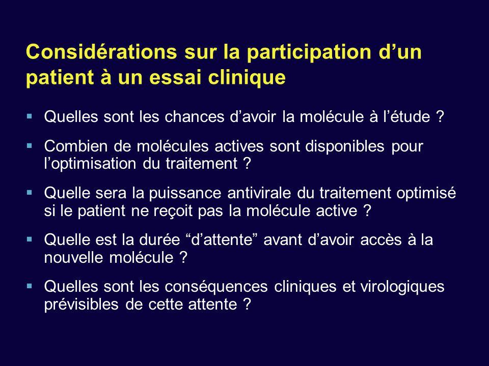 Considérations sur la participation d'un patient à un essai clinique