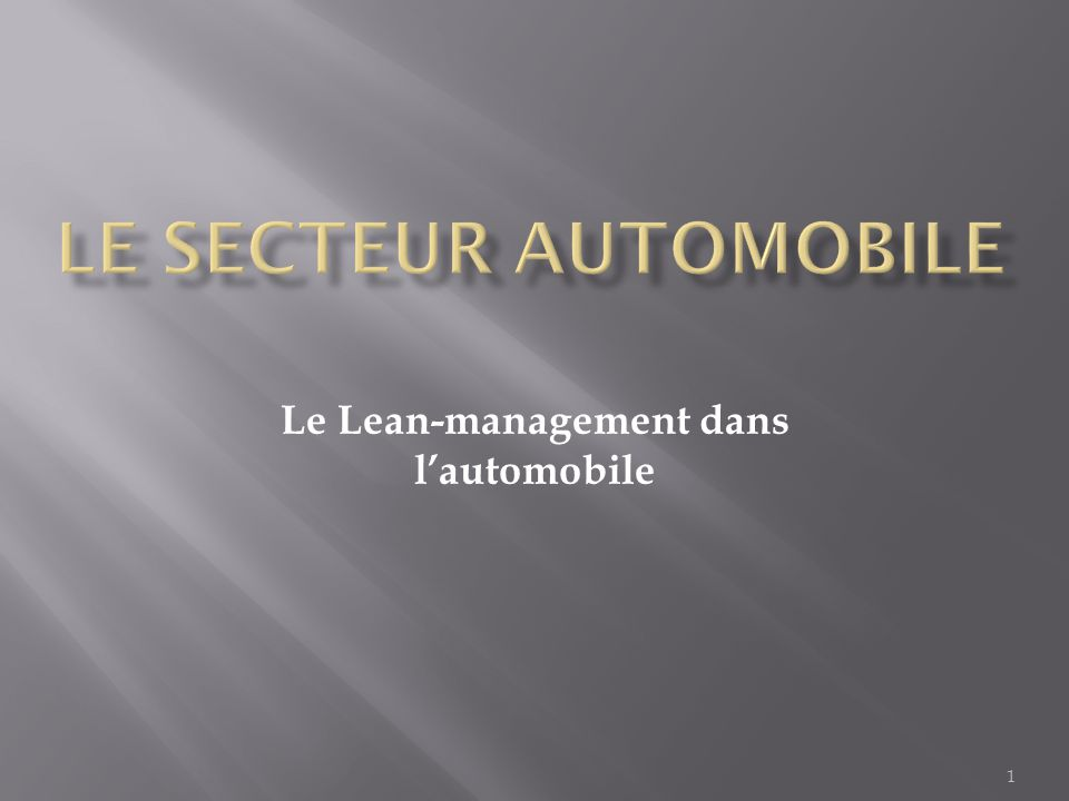 Le Lean-management dans l'automobile