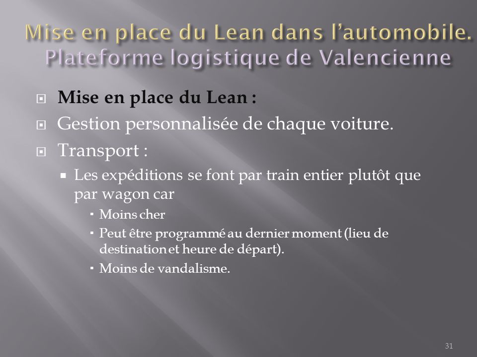 Mise en place du Lean dans l'automobile
