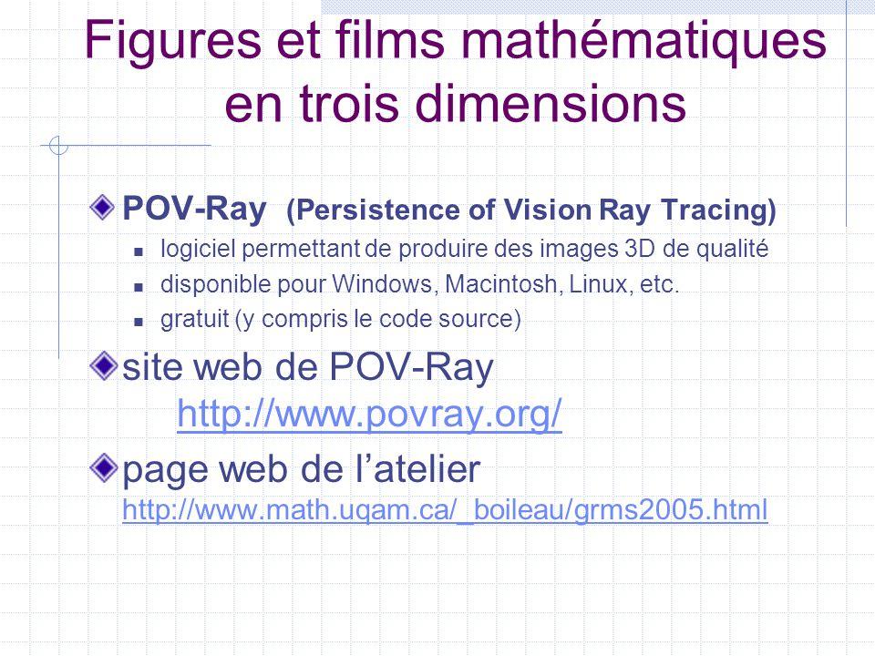 Figures et films mathématiques en trois dimensions