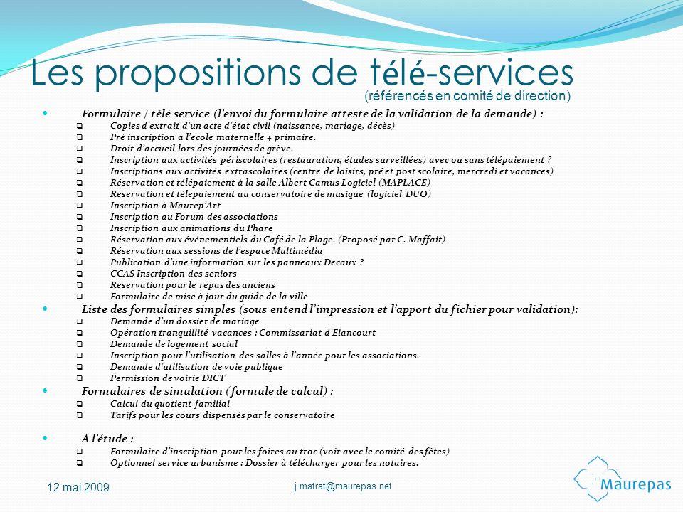 Les propositions de télé-services