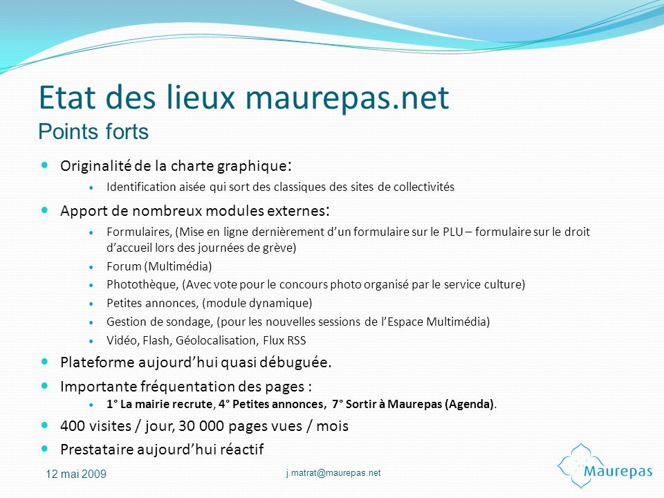 Etat des lieux maurepas.net