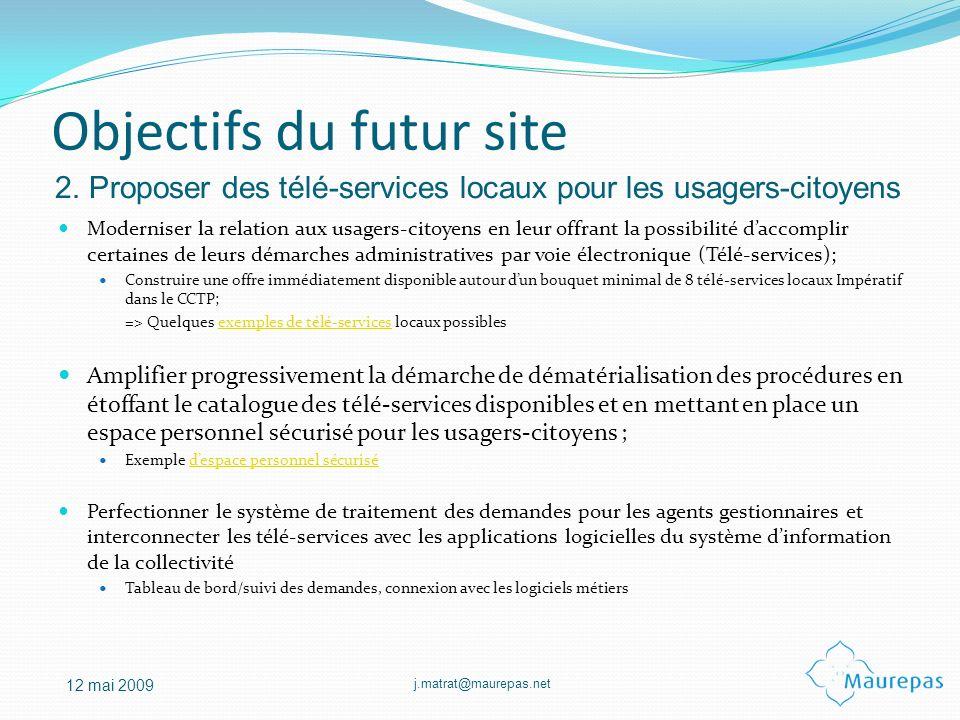 Objectifs du futur site