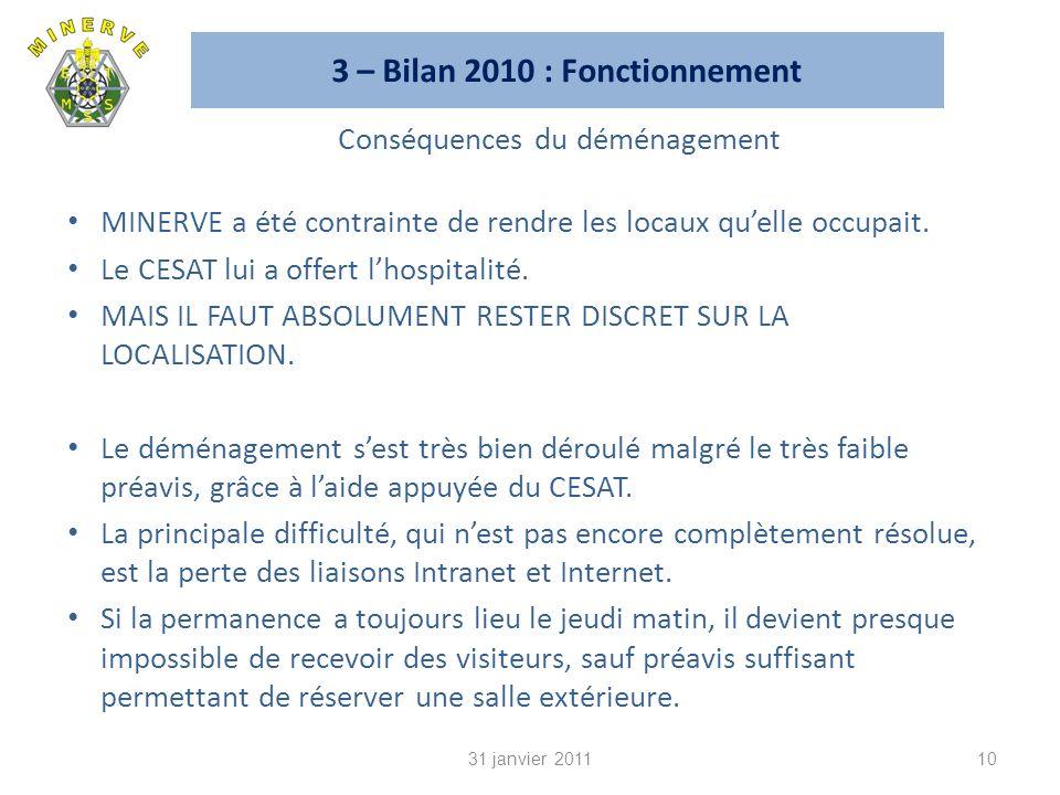 3 – Bilan 2010 : Fonctionnement