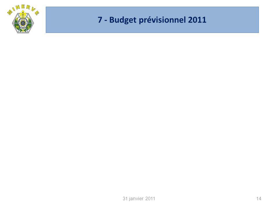 7 - Budget prévisionnel 2011 31 janvier 2011 CA du 14 janvier 2010
