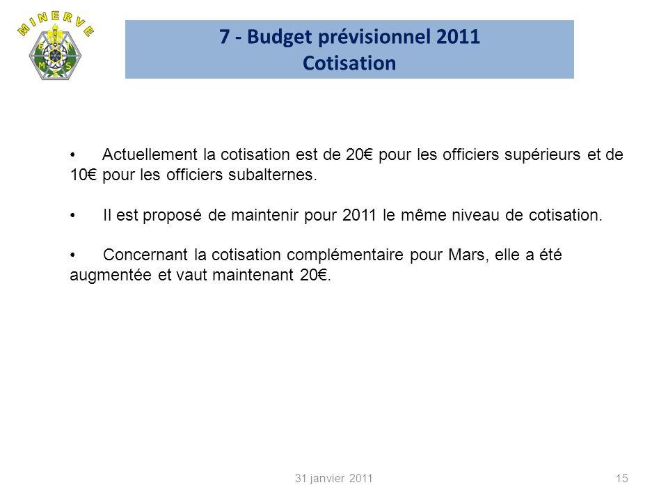 7 - Budget prévisionnel 2011 Cotisation