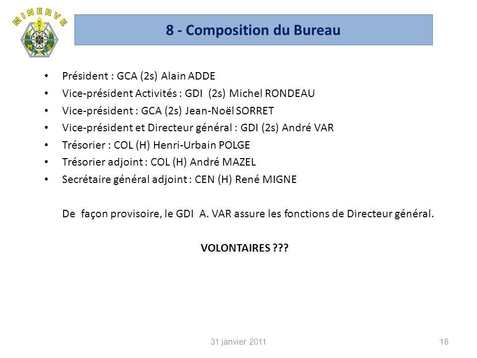 8 - Composition du Bureau