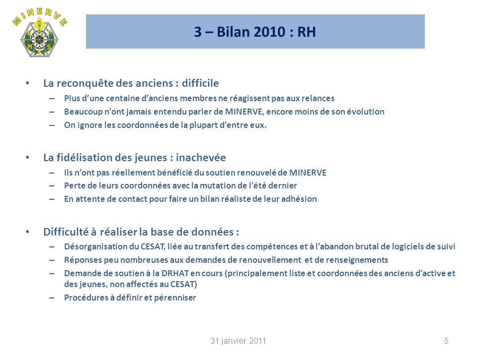 3 – Bilan 2010 : RH La reconquête des anciens : difficile