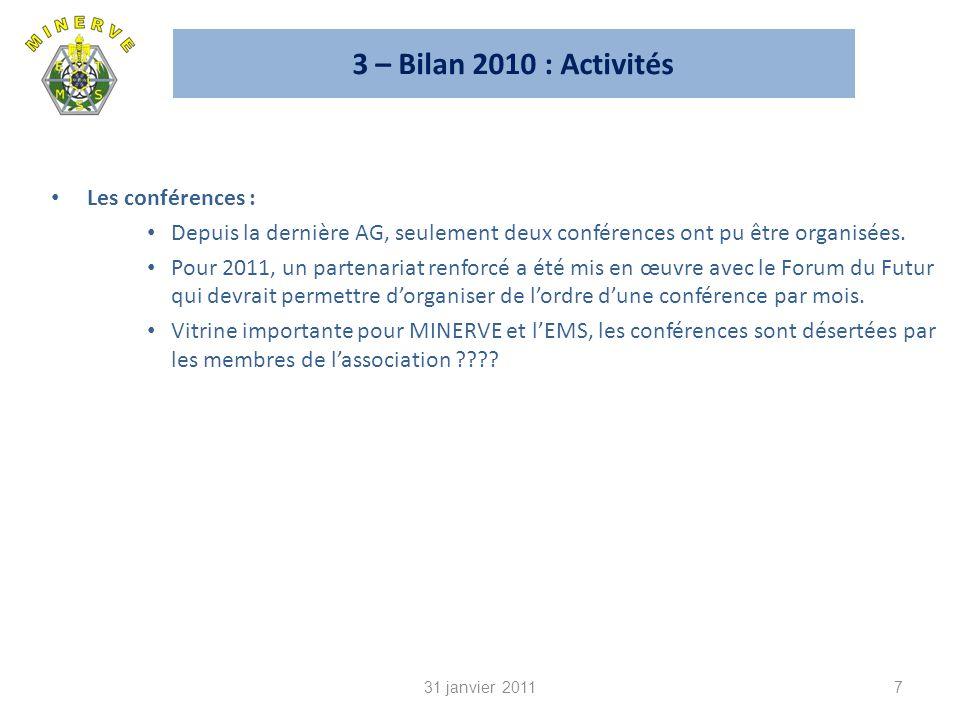3 – Bilan 2010 : Activités Les conférences :
