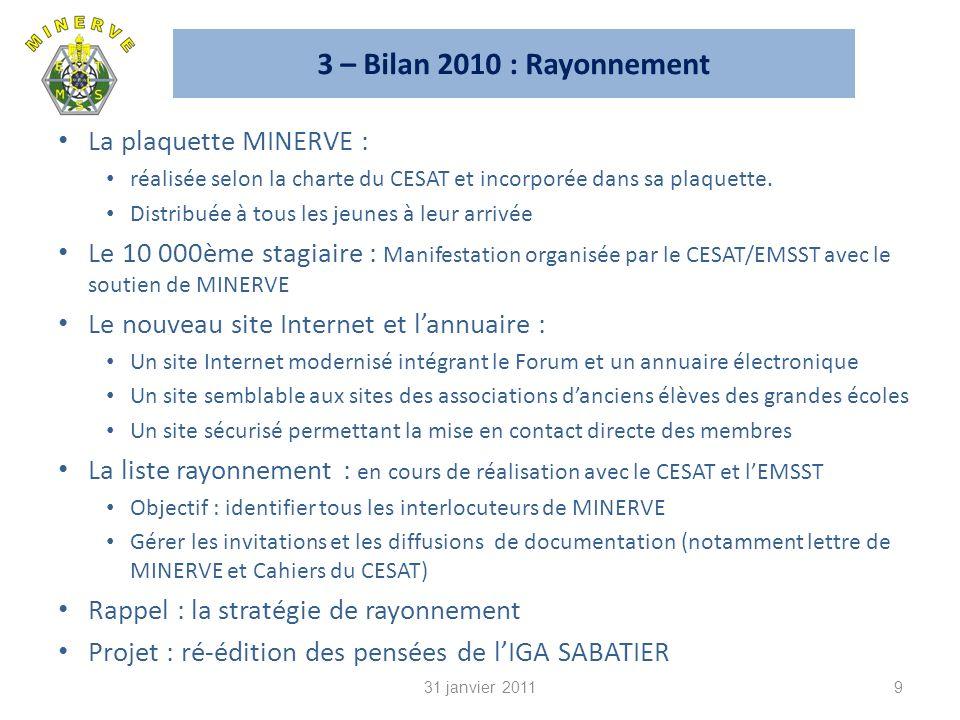 3 – Bilan 2010 : Rayonnement La plaquette MINERVE :