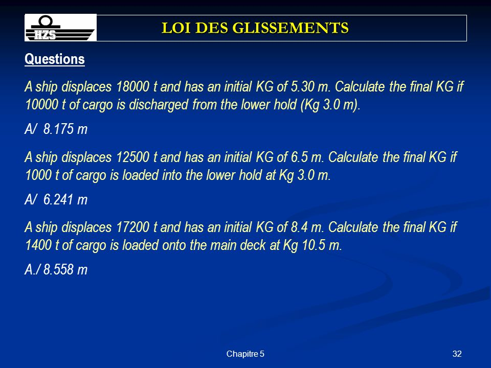 LOI DES GLISSEMENTS Questions