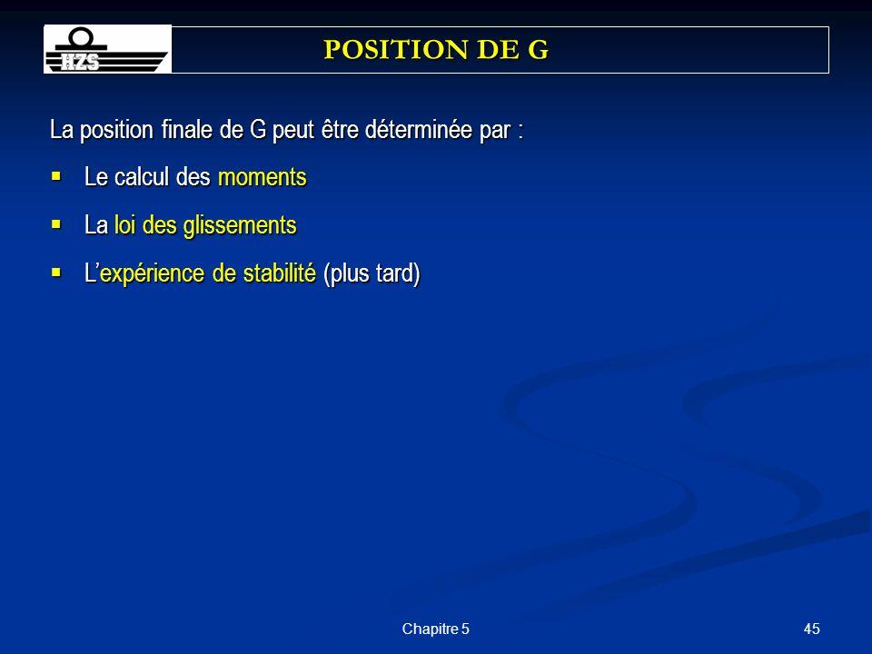 POSITION DE G La position finale de G peut être déterminée par :