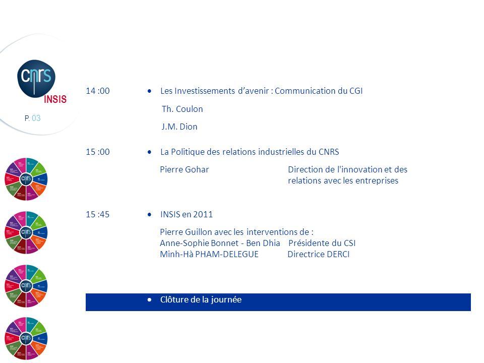 14 :00 Les Investissements d'avenir : Communication du CGI. Th. Coulon. J.M. Dion. 15 :00. La Politique des relations industrielles du CNRS.